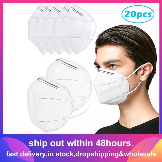 20 PCS Masks Air Purifying Dust Masks Vented Respirator Face Mouth Masks Dropshipping Wholesale