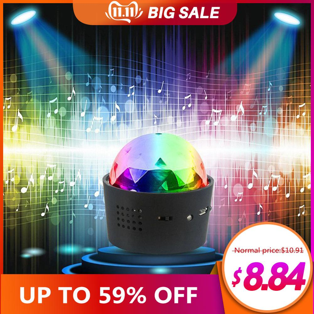 Wireless Disco Ball Lights Battery Operated Sound Activated LED Party Strobe Light Mini Portable RGB DJ Stage Light With USB