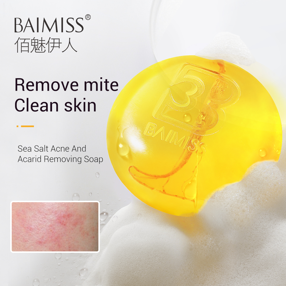 BAIMISS 24K Gold Handmade Soap Patented Acne Treatment Removing Mites Acarid Remove Mild Powerful Natural Skin-friendly Product