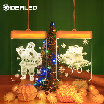 цена на Led Christmas lights decoration suction cup snowman Christmas tree curtain lights battery lights holiday atmosphere lighting