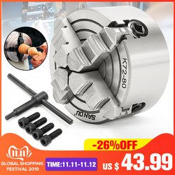 4 kaak Klauwplaat 80mm/100mm/125mm K72-80/K72-100/ k72-125 Onafhankelijke 1pcs Veiligheid Chuck Key 3pcs Mounting Bolt