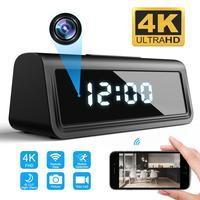 Relógio câmera sem fio 4k, wifi, micro câmera ir, visão noturna, alarme, relógio digital, mini câmera de vídeo, dvr, cartão tf