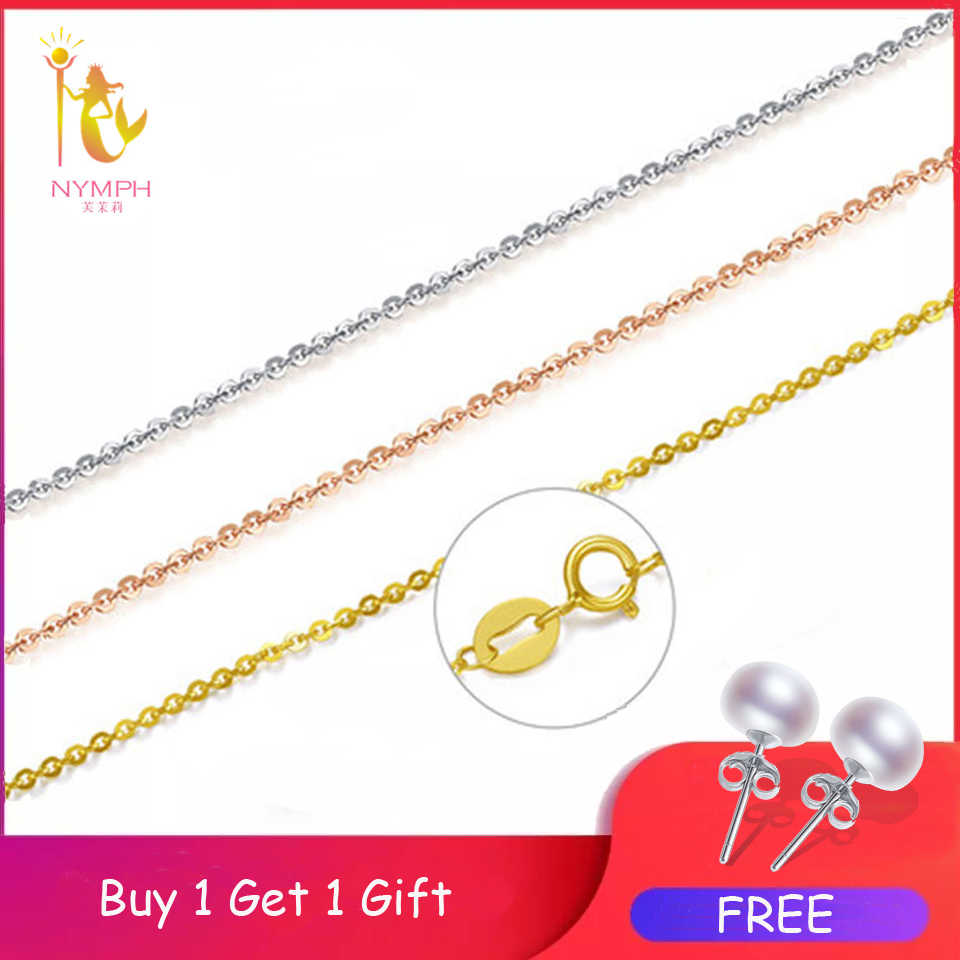[NINFA] 60 centimetri Genuino 18K Oro Giallo Collana In Oro Catena Best Regalo Per Le Donne [D206]