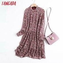 Tangada 2021 haute qualité femmes Style français fleur impression en mousseline de soie robe à manches longues haute rue dames robe Midi 4C50