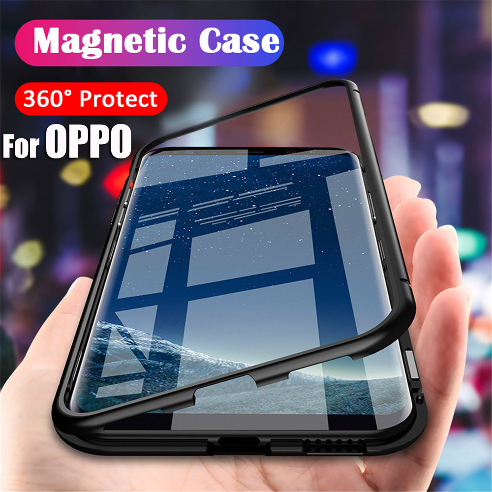 For <font><b>OPPO</b></font> F15 F11 Pro F9 F7 Adsorbable Magnetic Metal Frame Phone <font><b>Cases</b></font> <font><b>OPPO</b></font> A9 A8 A7 A5 A7S A5S <font><b>A3S</b></font> R17 R15 Pro Back <font><b>Glass</b></font> Cover image