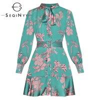 SEQINYY Green Dress 2020 Summer Spring New Fashion Design Long Sleeve Chiffon Flowers Printed Women Mini Dress Belt