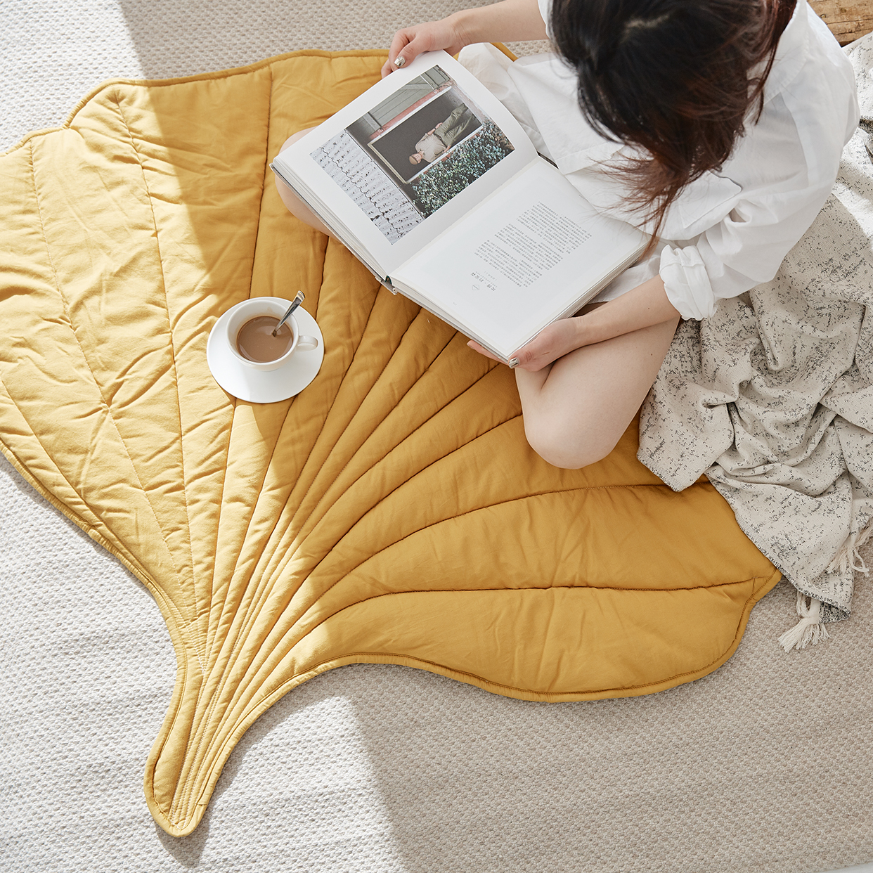 Nordic Leaf Rug Soft Cotton Floor Mat Rugs Baby Kids Bedroom Nursery Decor Carpet Blanket Living Room Home New Year Decoration