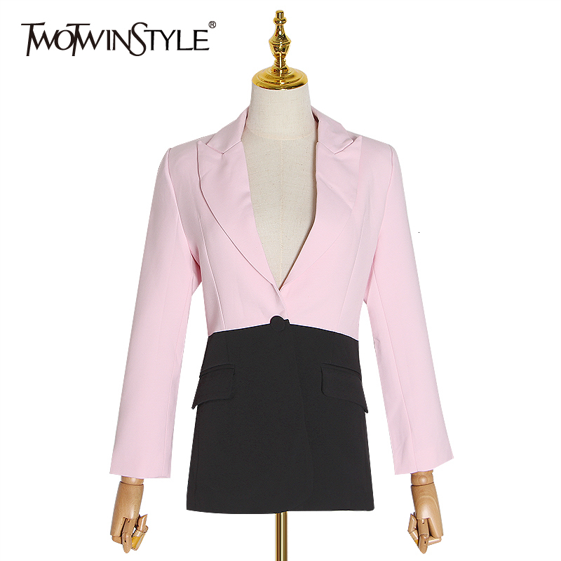 TWOTWINSTYLE Patchwork Hit Color Suits Female Notched Collar Long Sleeve Elegant Autumn Blazers Women 2019 Fashion Clothing Tide