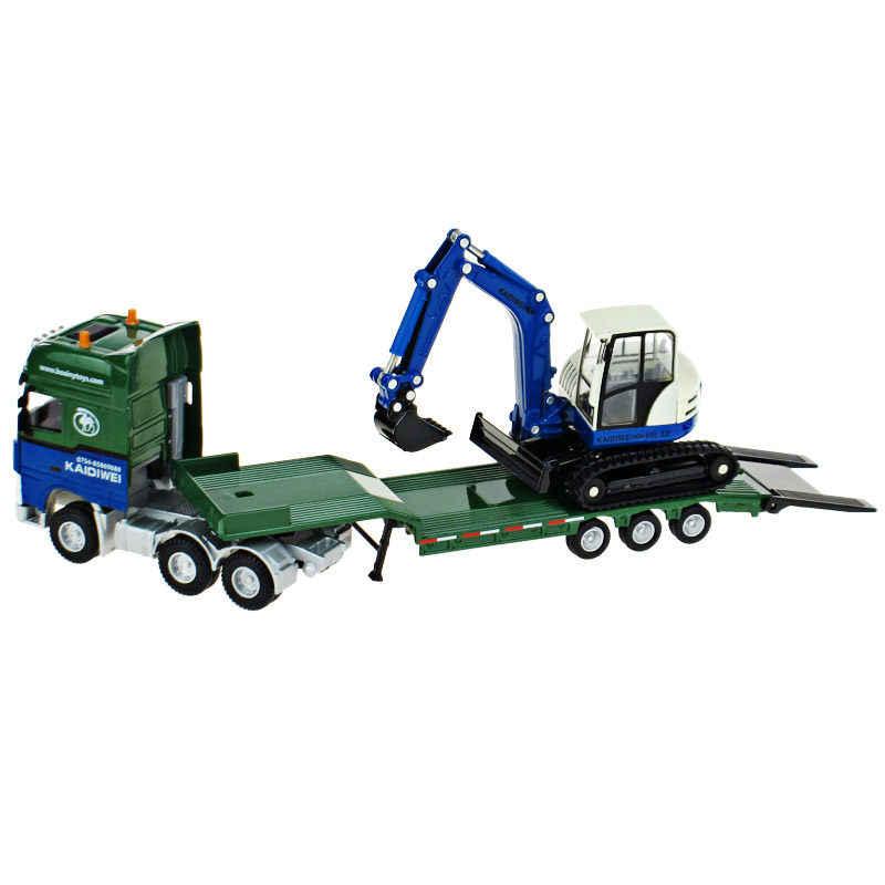 Alloy Diecast Trailer Flatbed + Excavator 1:50 Low Platform Truk Loader Rendah Traktor Diecast Model Kendaraan Hobi Mainan untuk Anak hadiah