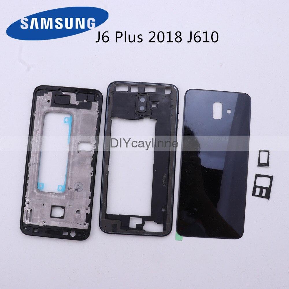 Для Samsung Galaxy J6 Plus 2018 J610 J610F полный корпус ЖК-панель Крышка средняя рамка SM-J610F батарейный отсек Замена