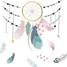 Dream Catcher Net Clouds Wallstickers Cute Cartoon Living Room Bedroom Removable Self-adhesive Wallpaper For Home Decoration