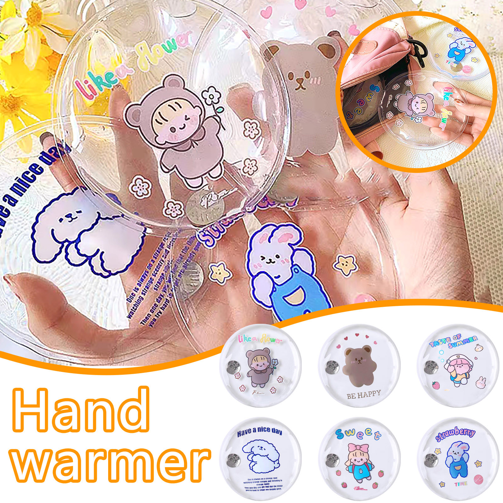 Mini Winter Reusable Gel Hand Warmer Cute Cartoon Instant Self Heating Pack Warmer Warm Supplies Hot Water Bottle Bye Bye Hot45#