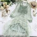 В Корейском стиле шикарные осенние Для женщин длинное платье феи с v-образной горловиной голубоватого, темно-синий, серый, зеленый, розовый, ...