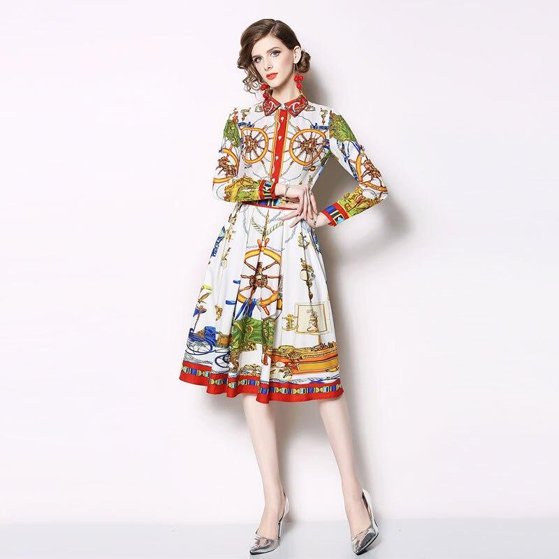 Дизайнерское подиумное платье 2019 осеннее модное женское платье рубашка винтажное Ретро Сицилийское Цветочное платье с длинным рукавом Миди vestidos