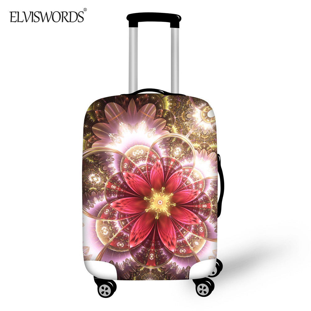 ELVISWORDS Trolley Suticase Protective Covers Luggage Cover Elastic Thick Print Flowers Travel Accessories