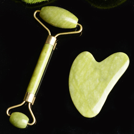 Facial Massage Roller Double Heads Jade Stone Face Lift Hands Body Skin Relaxation Slimming Beauty Health Skin Care Tools