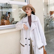 AMOR LIVE Fashion Autumn Winter Mink Coat Women Casual Warm  Wool Solid Double-breasted Green Long Jackets Elegant