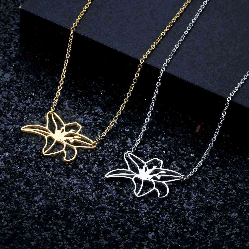 100% Real Stainless Steel Hollow Large Plumeria Flower Necklace Unique Jewelry Necklace Fashion Pendant Necklaces