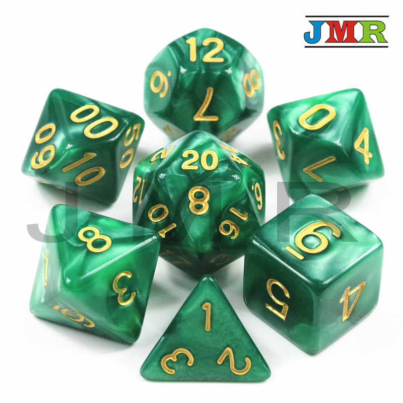 Brand New Creative 7pcs Polyhedral Pearlized Effect Dice D4 D6 D8 D10 D12 D20 Game Dice Set For DUNGEONS& DRAGONS Board Games