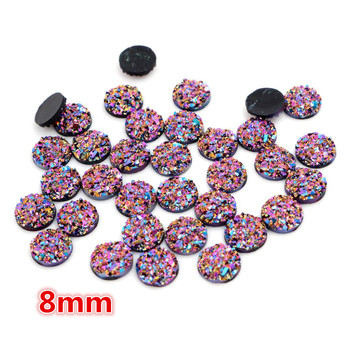 New Fashion 8mm 40pcs Dream Aurora AB Colors Natural ore Flat back Resin Cabochons For Bracelet Earrings accessories-O6-30 image