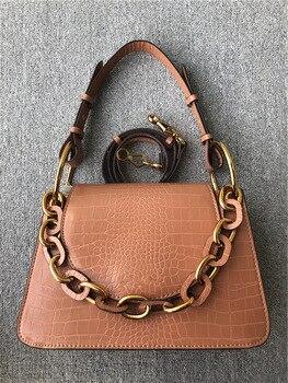 Metal Chain Ornaments Women's Flip Shoulder Bag