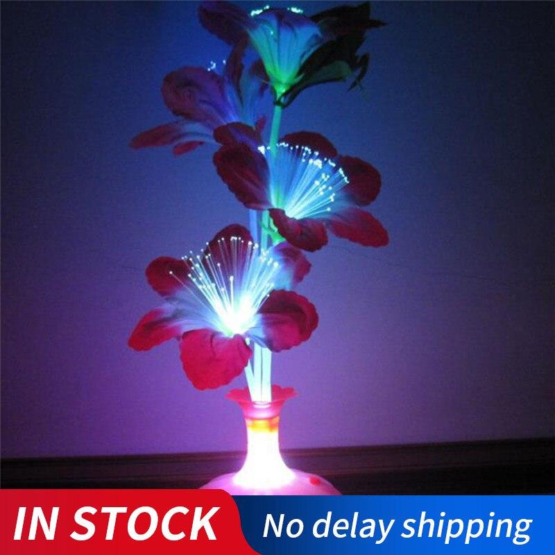 Drop Shipping 1PC Decoration Stage Fiber Flower Vase Optical Fiber LED Lamp Valentine's Day Night Light Home Decor