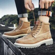 Осенние ботильоны для мужчин; Модные мотоциклетные ботинки из
