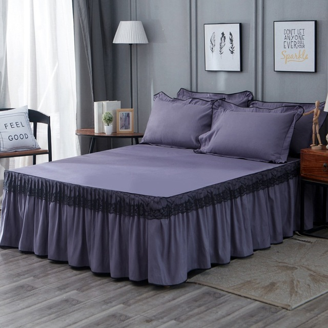 Claroom Women Lace Bedspread Solid Color Thick Bed Cover and Pillowcases Skin-friendly Fabric Bed set OP19#