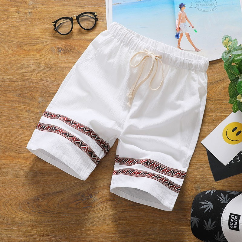 Hot Sale Summer Straight Drawstring Waist Mens Board Shorts Knee Length Cotton Thin Vintage Patch Male Plus Size Casual Shorts