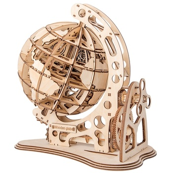 цена на Wooden Globe Puzzle 3D DIY Mechanical Drive Model Transmission Gear Rotate Assembling Puzzles Home Office Decoration Toys Adults