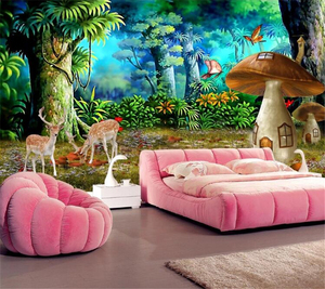 beibehang Wallpaper Custom Wallpaper Mural Beautiful Fantasy Forest Mushroom Sika Deer Fashion Background Wall(China)
