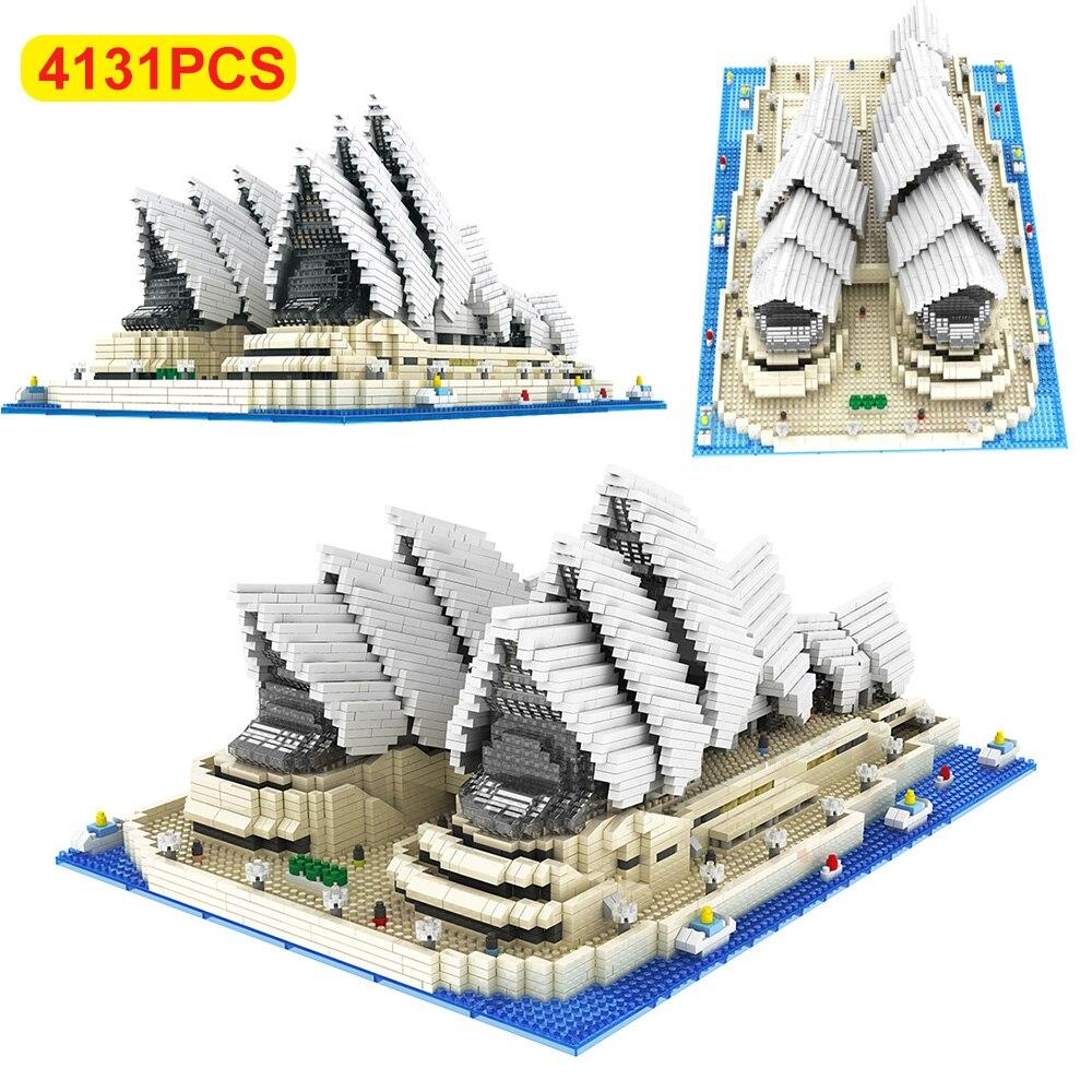 diy arquitetura blocos modelo sydney opera house criativo particulas de diamante construcao tijolos crianca brinquedos educativos