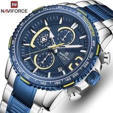 NAVIFORCE nowe zegarki dla mężczyzn wodoodporny zegarek kwarcowy Top marka mężczyzna zegar sportowy ze stali nierdzewnej Chronograph Relogio Masculino