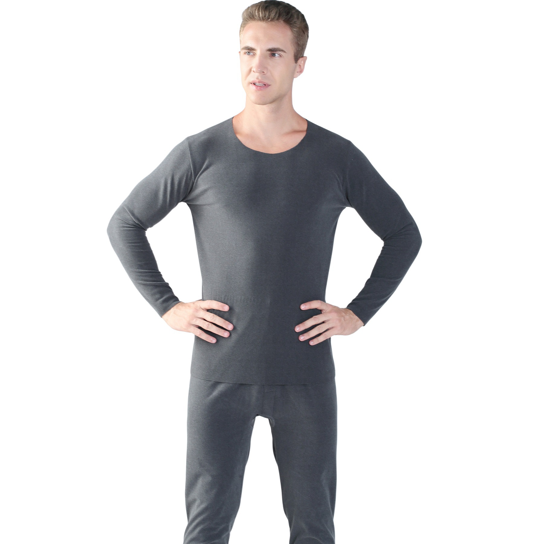winter plus size XXL-7XL double-sided velvet seamless knitting warm thicken long-sleeved thermal underwear suits long johns set