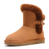 Classic Genuine Cowhide Leather Snow Boots 100% Wool Women Boots Rabbit Hair Buckle Warm Winter Shoes for Women Large Size