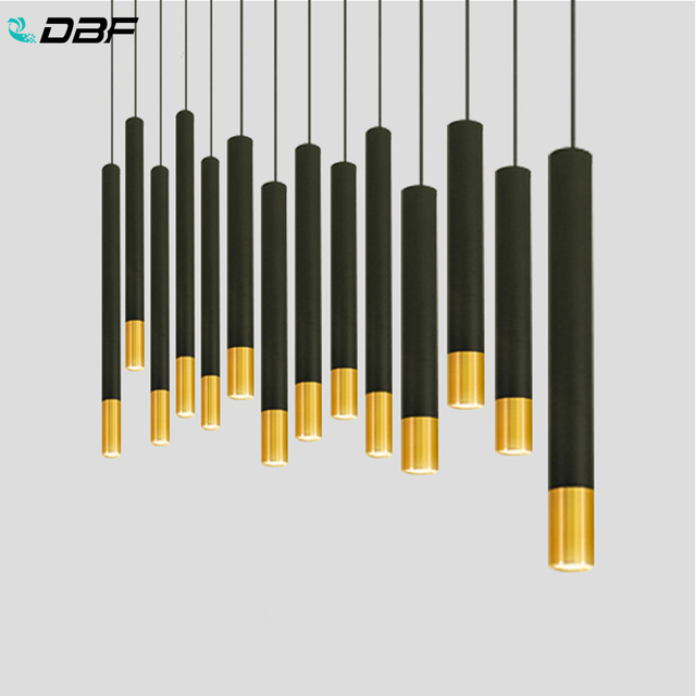 [DBF] Lange Rohr FÜHRTE Anhänger Licht Schwarz + Gold 1m Draht Hängen Spot Lichter für Küche Esszimmer zimmer Bar Zähler Shop AC110V 220V