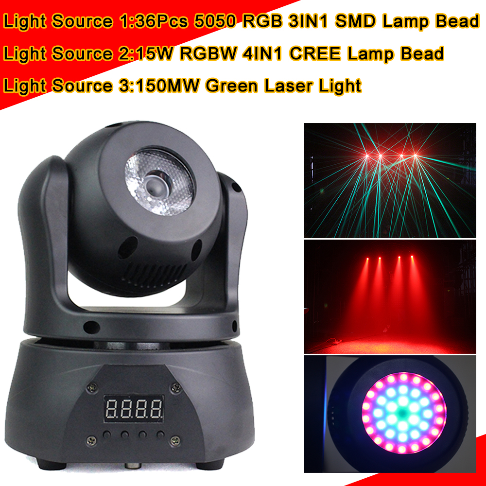 Laser Beam Strobe 3IN1 Mini LED DMX 512 Moving Head Spot Light Club DJ Stage Lighting Party Disco High Brightness Par Light