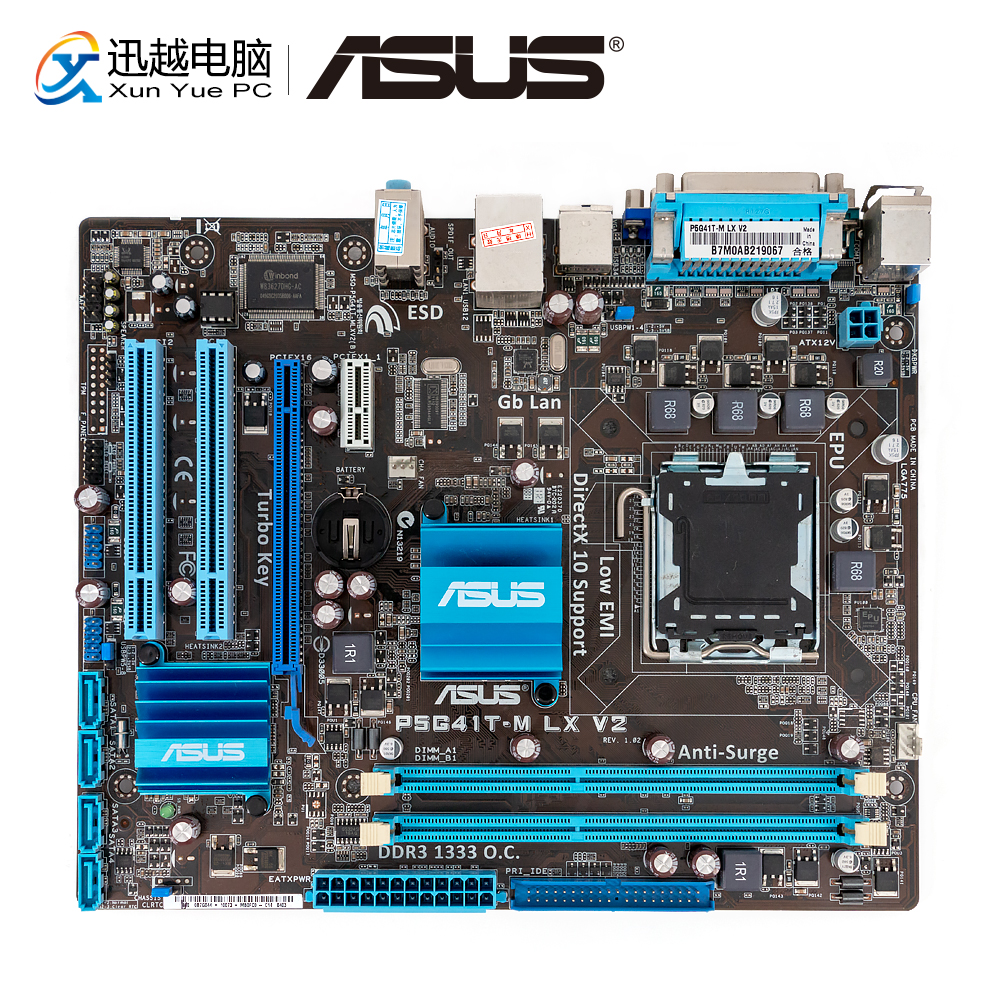Asus P5G41T-M LX V2 Desktop Motherboard G41 Socket LGA 775 For Core 2 Duo DDR3 8G SATA2 VGA UATX Original Used Mainboard