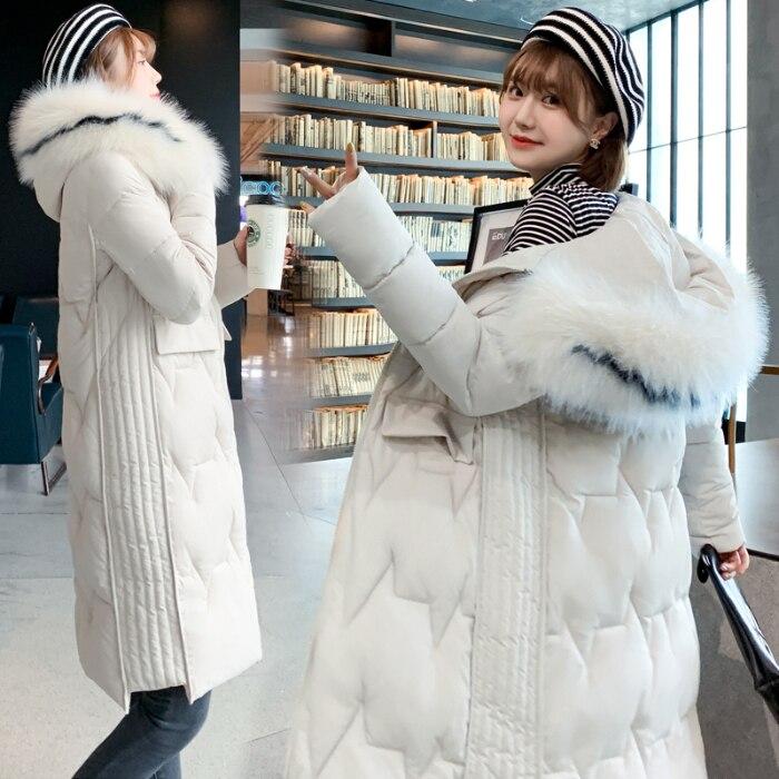 Фотосъемка со сценой пуховик Новая длинная хлопковая стеганая одежда свободная Толстая хлопковая стеганая куртка больших размеров