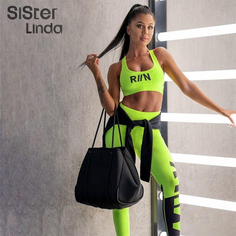Sisterlinda Women Fitness Tracksuit Two Pieces Set Neon Sportswear Tank Top Bra Skinny High Waist Leggings Outfit Tracksuit Muje