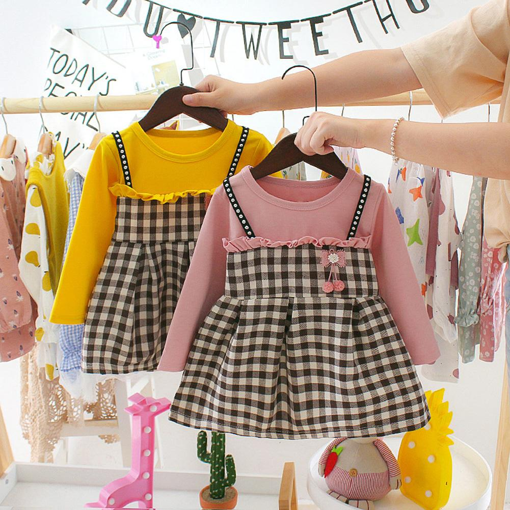 Fashion Girl Baby Dress Autumn Long Sleeve O Neck Stitching Ruffled Plaid Strap Princess Party Dress For 0-24Months