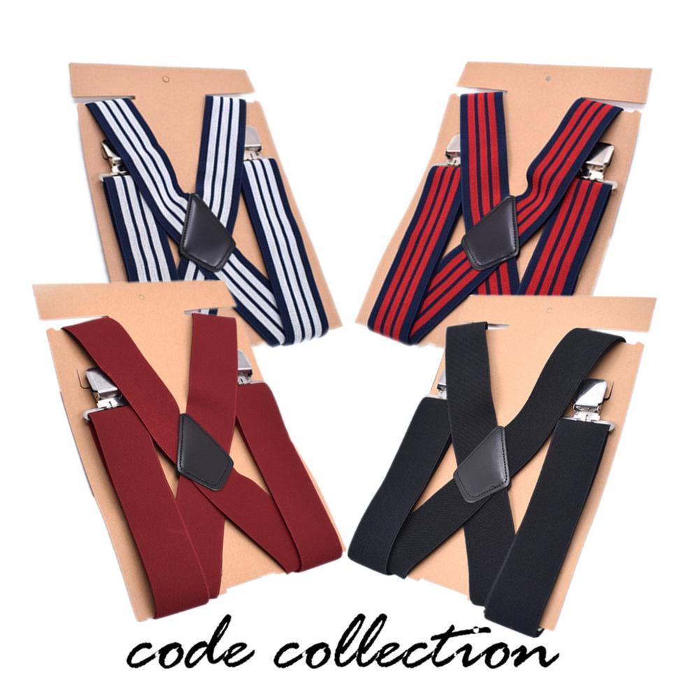 Fashion Black White 5cm Wide Men's Suspenders For Men Women Braces 4 Clip Elastic Male Suspenders Shirt Pants Bridegroom Gift