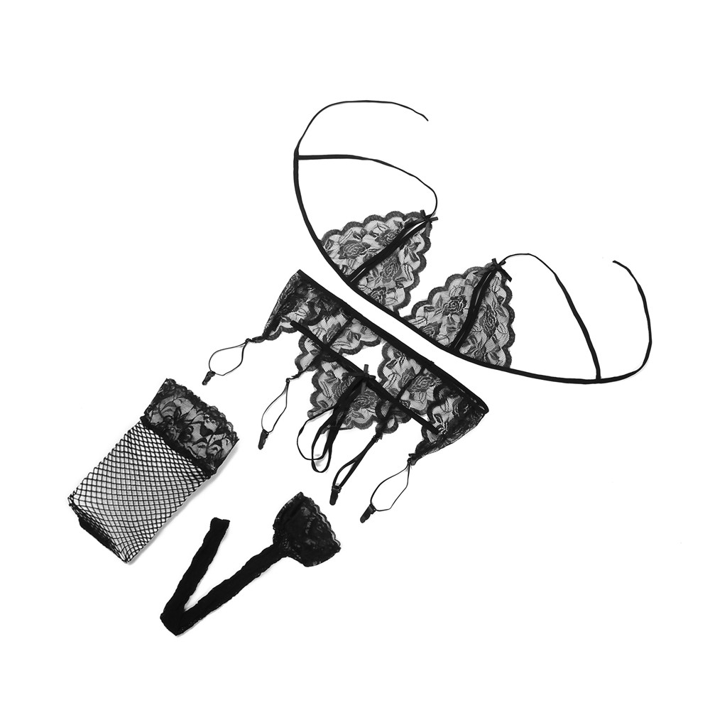 Women Bra Set Sexy Transparent Lace Bra And T-back + Garter + Net Socks Suit Lingerie Porno Underwear Women Sexi Lingerie Set