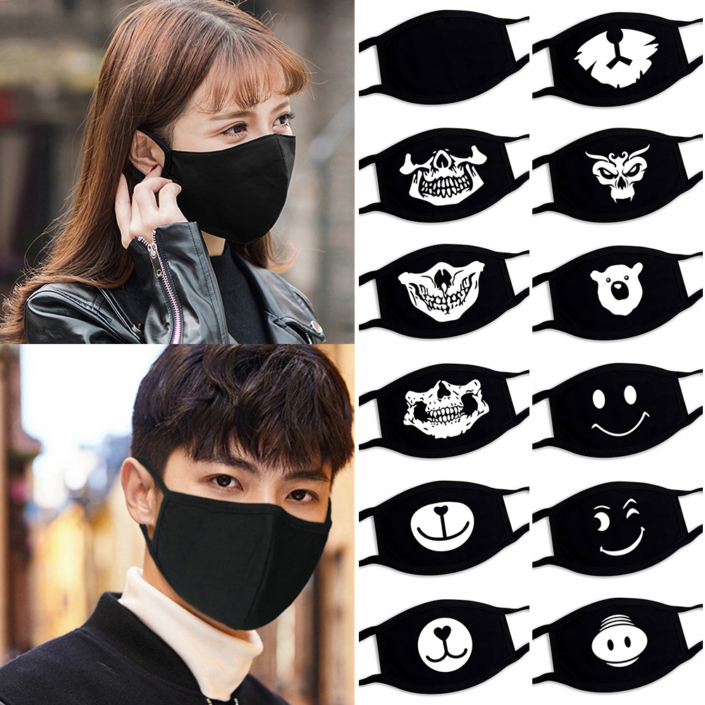 1Pc 2020 Unisex Fashion Cotton Reusable Washable Dustproof Mouth Face Mask Black Cartoon Funny Pattern Anti-dust Mouth Mask Gift