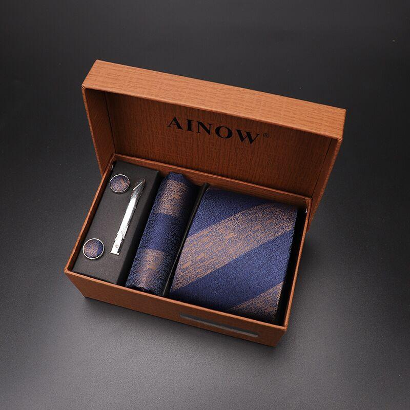 Набор галстуков 4 шт. мужской цветочный галстук для шеи клетчатый галстук подарок свадебный красный полосатый 8 см темно-синий жаккардовый тканый черный однотонный Камуфляжный ящик - Цвет: NO box 51