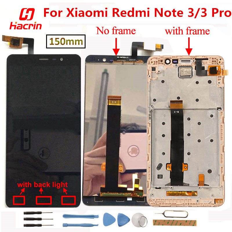 LCD Display For Xiaomi Redmi Note 3 LCD Screen+Touch Display With Frame/Soft-key Backlight For Redmi Note 3 Pro Prime 5.5inch