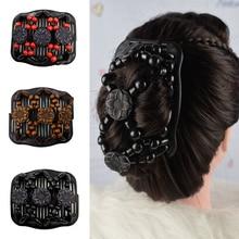 Retro Women Beads Magic Hair Comb Clip Fashion Hair Bun Make