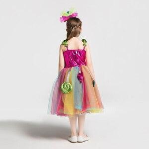 Image 4 - Радужный костюм для девочек на день рождения; Платье пачка с бантом и радужным леденцом; Платье для карнавала; Вечерние повязки на голову
