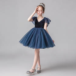 Платье для девочек с изображением фортепиано; детское вечернее платье; пышная вуаль с цветочным рисунком для девочек; платье принцессы на