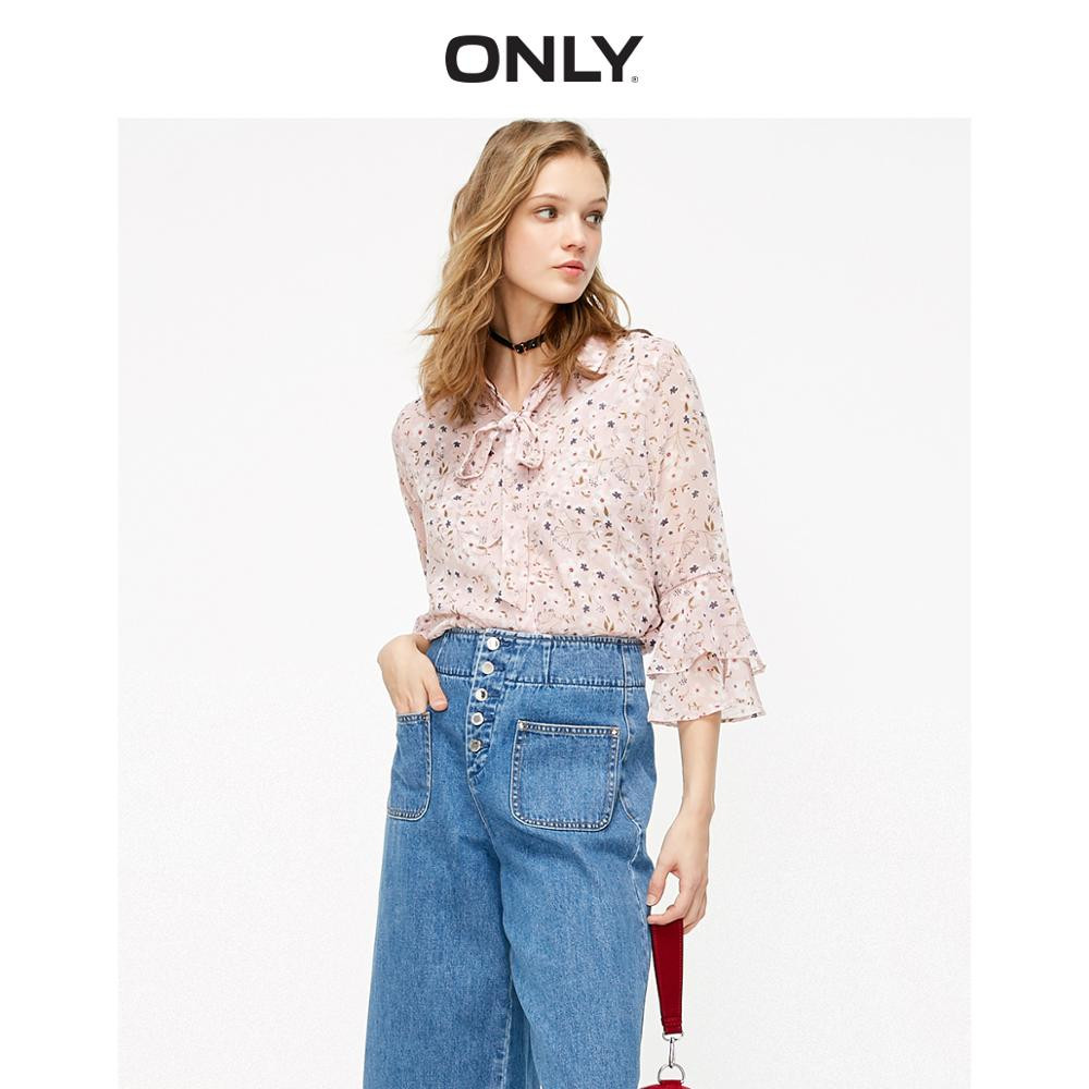 ONLY Women's  Loose Fit Lace-up Floral Chiffon Shirt | 119131506